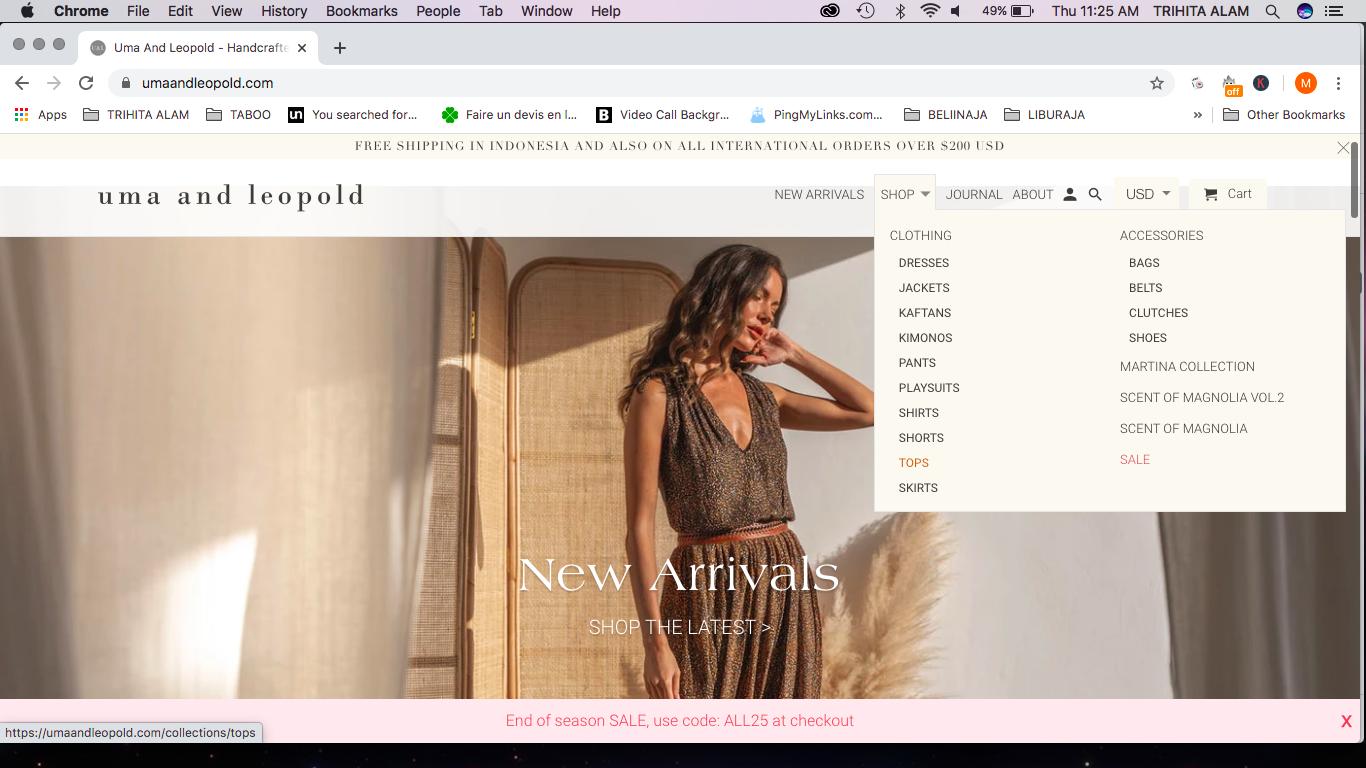 menu uma and leopold website example