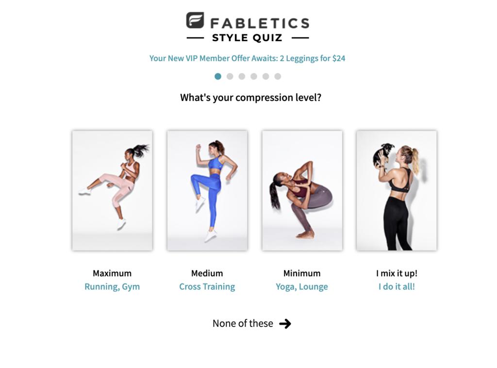 fabletics quiz fashion website