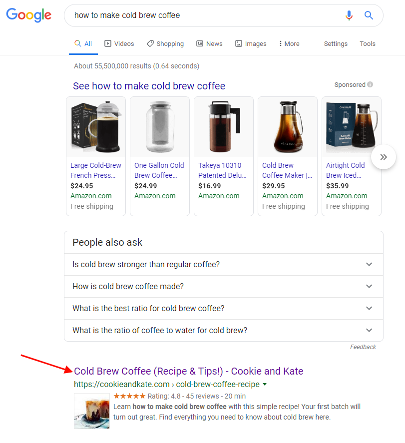 google result example