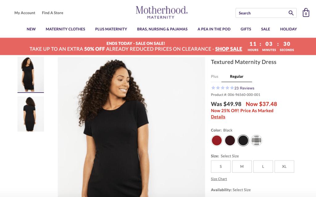 motherhood maternity product page