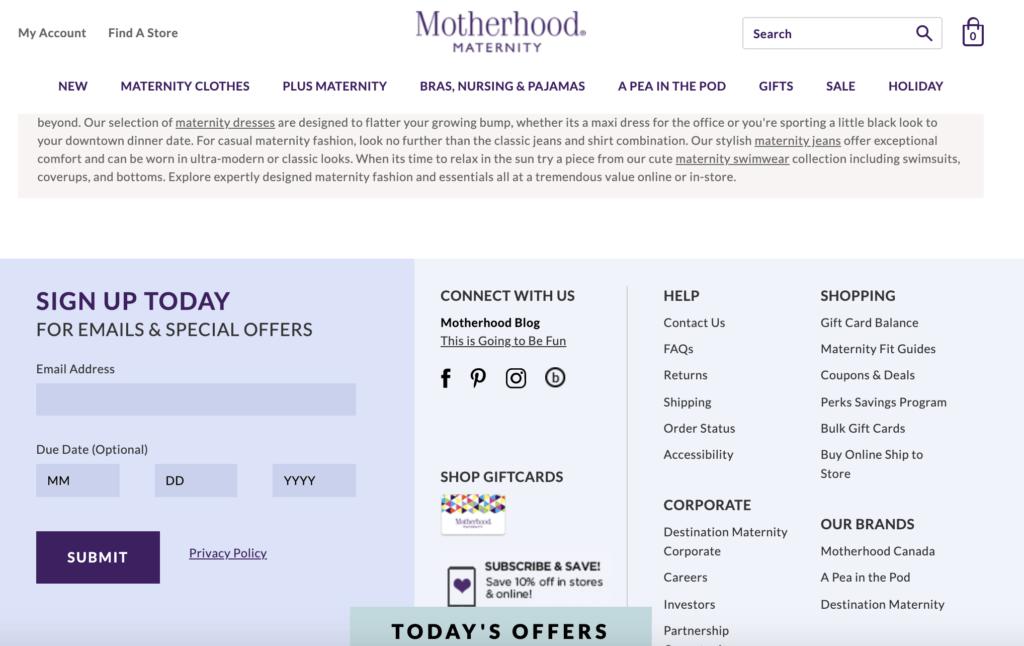 motherhood maternity offers